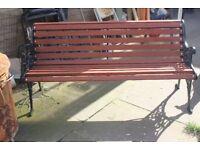 cast iron wooden bench