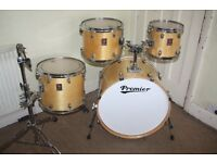 """Premier XPK Natural Lacquered 4 Piece Drum Kit with Gold / Brass Lugs (22"""" Bass) - DRUMS ONLY"""