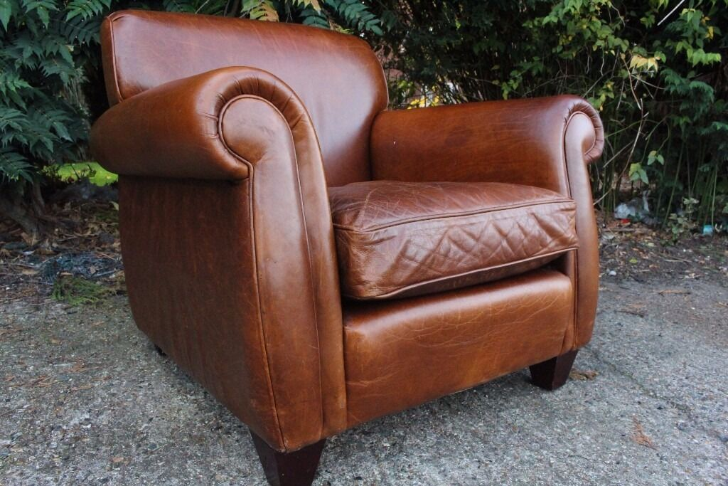 Designer Laura Ashley Exmoor Vintage Antique Leather Armchair Chair