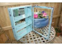 Gorgeous little vintage wall cabinet `shabby chic` style, glass fronted