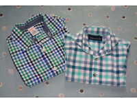 Gymboree & Next Boys Green & Blue Check Long Sleeve Shirts, Age 3 Years.
