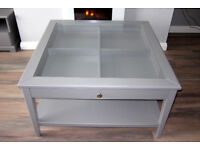 Ikea 'LIATORP' coffee table 93cm X 93cm square in grey with clear glass top.
