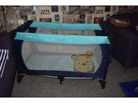 Travel Cot Winnie The Pooh Blue
