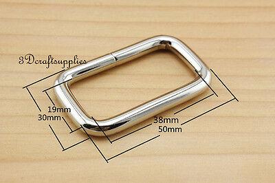 Rectangle Rings webbing Belt buckle nickel 38 mm 1 1/2 inch 10pcs
