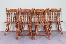 6 X COTTAGE STYLE SOLID PINE KITCHEN CHAIRS - CAN COURIER