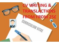 CV Writing / Cover Letters,TRANSLATIONS from Italian, Spanish, Portuguese, Russian, Polish, Latvian