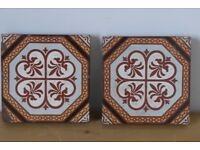 Architectural salvage: Two original vintage / antique floor tiles. Unusual, possibly rare, pattern.