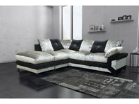 Black/Silver Mix! Same Day Cash on Delivery! New Dino Crush Velvet Corner or 3 and 2 sofa