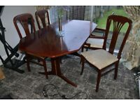 Extendable Mahogany Dining Table with 6 Chairs in Stockport