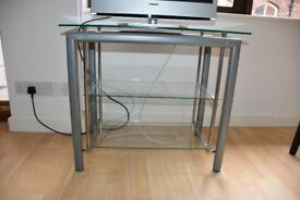 TV table / unit chrome effect with glass shelves - MUST GO ASAP!