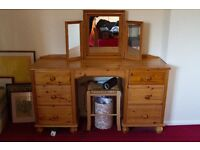 Pine Dressing Table, 6 Drawer Very Good condition