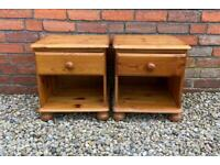 Pair of solid pine, bedside tables
