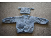 handmade knitting baby boy jumper with a hat, size 6-12 months