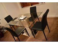 JOHN LEWIS modern glass dining table with faux leather chairs