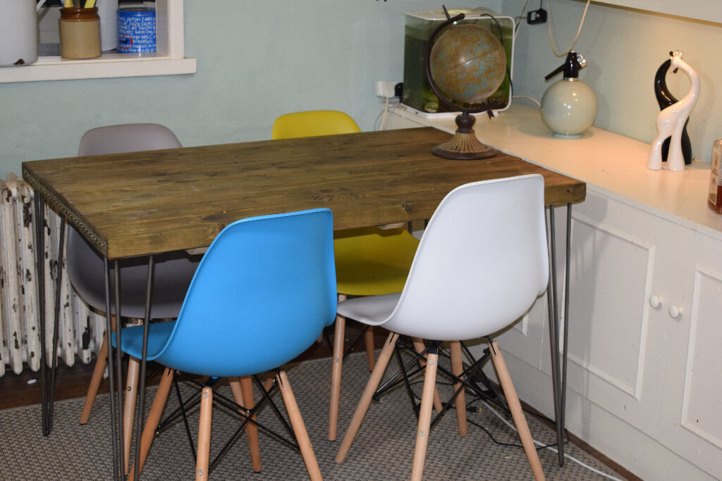 Industrial kitchen table and x 4 chairs mid century style for Industrial style kitchen chairs