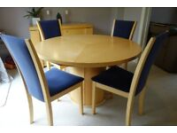 Skovby extending maple dining table & 4 chairs