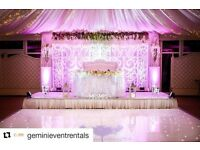 Dance Floor Hire, Throne Chair, Wedding Sofa, Wedding Decoration, Chair covers, Cutleries, Plates