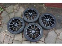 "4x Subaru STI 17"" Enkei alloy wheels"