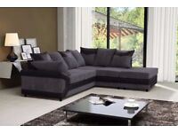 dino jumbo cord corner and 3+2 seater sofa set--grey and black color