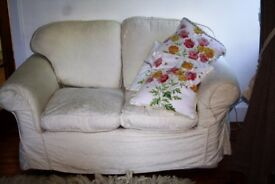 2 SEATER SOFA WITH WASHABLE CREAM COTTON COVERS EXCELLENT