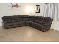 Brown leather manual recliner large corner sofa