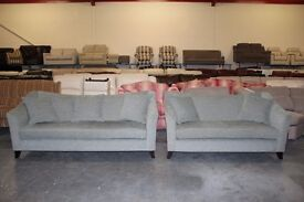 Ex-display Lucca blue fabric large and medium sofas with scatter cushions