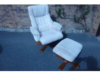 Swivel/recline easy chair with footstool