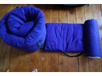 Double futon set incs bolster neck-roll and cushion, purple