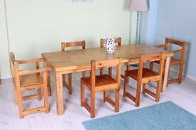 6 1/2 FT SOLID PINE TABLE 6 CHAIRS INCL 2 CARVERS PAINTING PROJECT - CAN COURIER