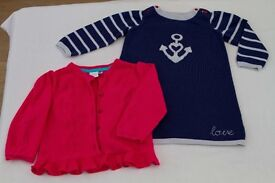 Baby girls cardigan and jumper dress, 9 – 12 months