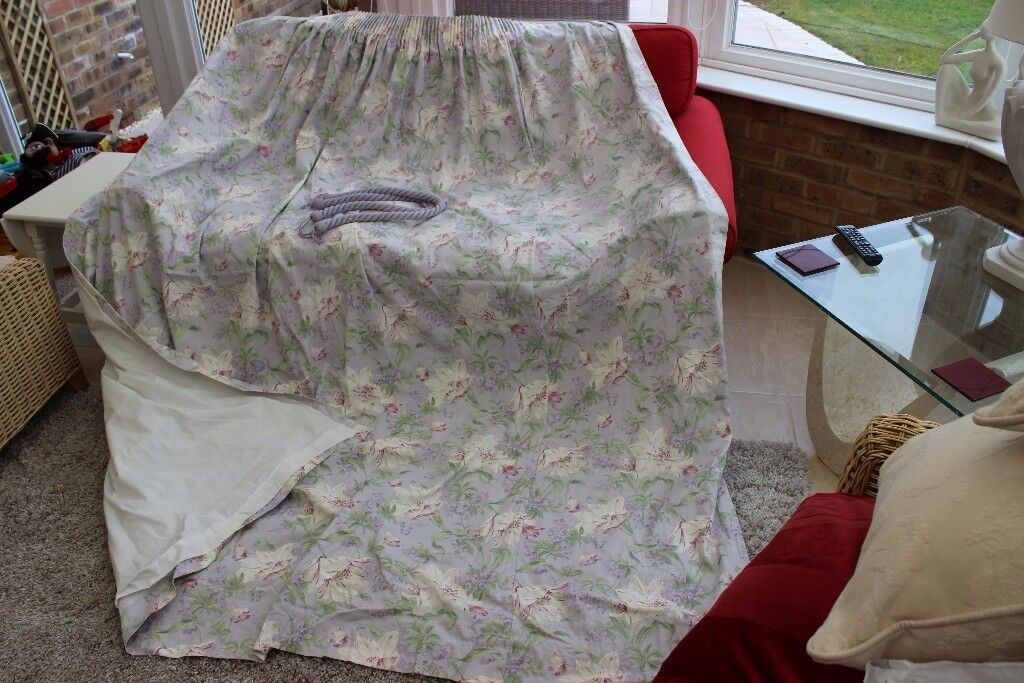 """Pair of Laura Ashley 90"""" drop curtains with tie-backs"""