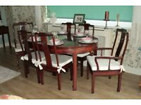Chinese oval rosewood table and six chairs