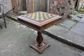 Antique Pedestal Chess, Checkers & Backgammon Game Table