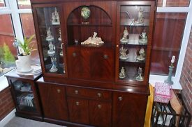 Large wall unit, with glass display and 3 cupboards under, drink cabinet in middle
