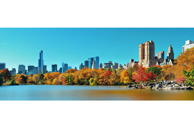 Central Park Lake Autumn Manhattan NY Skyline Photo Poster 18x12