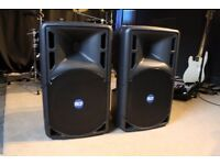 Pair of RCF ART 322a active PA speakers with covers