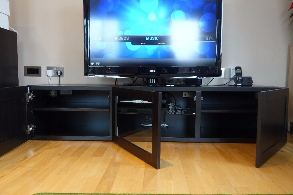 Unit Ikea Besta Burs Tv Stand Hack Glass Doors Massagroup