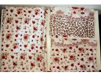 Bed sheet and pillow cover set from India with beautiful rose and animal print
