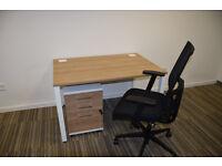 Office desk, chair & drawer unit