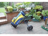 childs golf clubs, bag and trolley