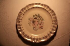 1950's Limoges Lady Plate with gold