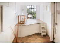 Desk spaces availble in bright and friendly creative studio