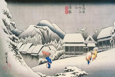 (Utagawa Hiroshige Evening Snow At Kanbara Art Print Poster 24x36 inch)