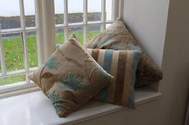 4 soft cozy-wozy cushions Duck egg blue & mink plus a gold one