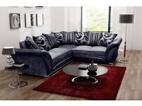 NEW CHENILLE FABRIC 3 AND 2 SEATER/ 5 SEATER CORNER SOFA SUITE IN LEATHERETTE EFFECT