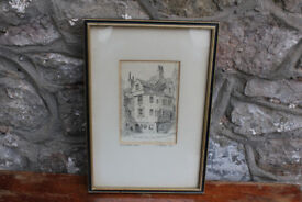 Antique Drawing Sketch John Knox's House K.V. Forbes 1926 Edinburgh Scotland Picture Vintage Art