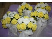 5 Wedding bouquets yellow and white foam roses