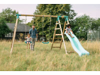 Plum Roloway Wooden Double Swing Set with Slide
