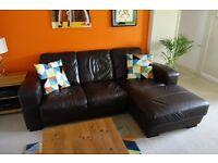Dark Brown 'Canti' leather Sofa - L shape 2 piece