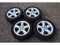 "Genuine 16"" Staggered Mercedes W209 CLK AMG Alloy Wheels 205/55 225/50 Tyres"